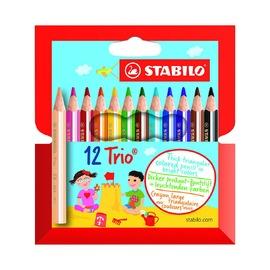 Набор укороченных цветных карандашей Stabilo Trio, 12 шт.