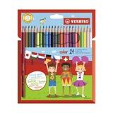 Набор цветных карандашей, 20 цветов + 4 флуорисцентных