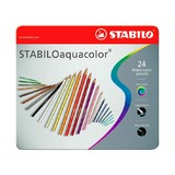 Набор акварельных карандашей Stabilo Aquacolor, 24 цветов, металлический футляр