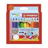 Набор утолщенных укороченных цветных карандашей Stabilo Swans Jumbo, 12 цветов и точилка