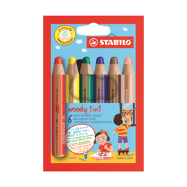 Набор супертолстых цветных карандашей Stabilo Woody, 6 цветов
