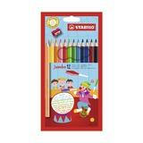 Набор утолщенных цветных карандашей Stabilo Jumbo, 12 цветов и точилка