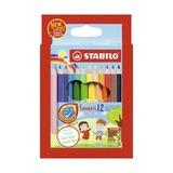 Набор укороченных цветных карандашей Stabilo Swans Jumbo, 12 цветов и точилка